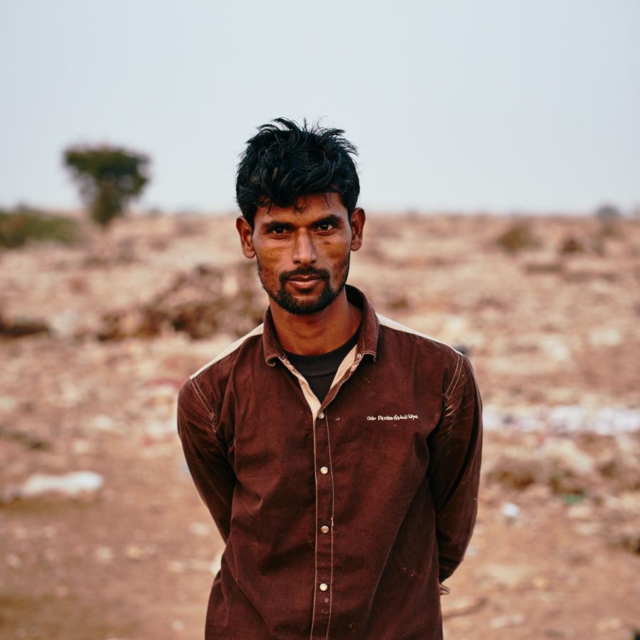 Portrait eines Ledersammlers in Bikaner/ Rajasthan/ Indien, 2018